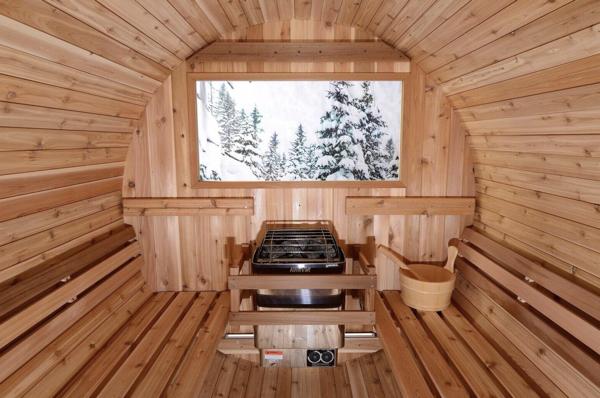 Fass Sauna traditionell 4 Personen Almost Heaven Pinnacle_innen Ofen