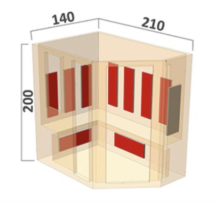 Infrarot Sauna Classic 7 Personen rechts 210 x 140 x 200_Maße