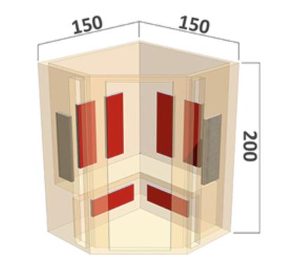 Infrarot Sauna Classic 4 Personen 150 x 150 x 200_exclusive5-base_Maße